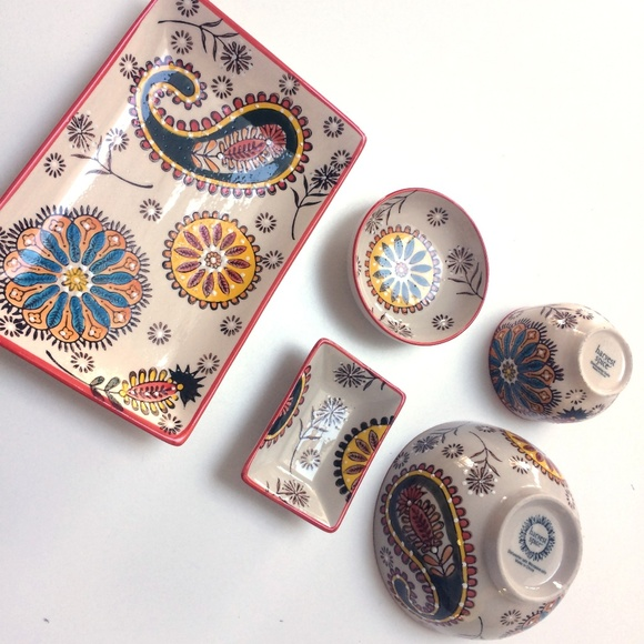 New Boho Ceramic Decorative Plates Bowls Nwt